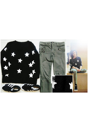 black knitting wool Mart of China sweater - olive green River Island pants