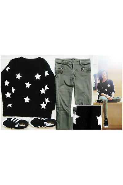 black knitting wool Mart of China sweater - olive green River Island pants