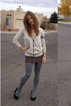 neutral varsity Forever 21 cardigan - charcoal gray American Apparel stockings
