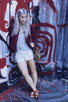 crimson varsity Urban Outfitters jacket - periwinkle H&M shorts - silver H&M top