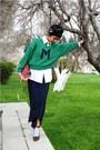 Black-mango-shoes-green-mango-sweater-white-topman-shirt-navy-green-silk-v