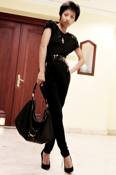 black Mango top - black Mango pants - black Miu Miu belt - black Guess shoes - b