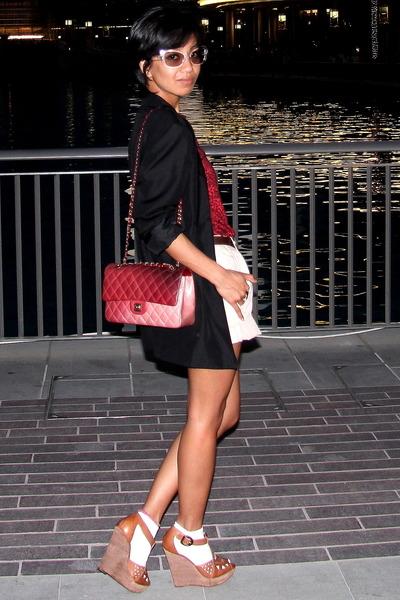 red dotted Balmain t-shirt - Zara - Prada - black Stella McCartney