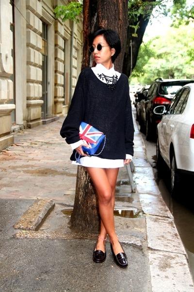 black Topshop sweater - white shirt Topman - black - black f21