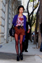 brown NafNaf shirt - brown dark baggy donna karan shorts