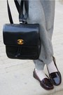Heather-gray-turtle-neck-mango-sweater-black-caviar-backpack-chanel-bag-nude