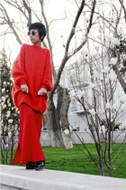 black doc martens boots - red sweater - black caviar Chanel bag - black lennon s
