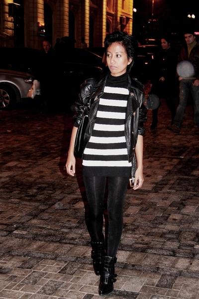 black vintage ebay jacket - Mango - black shiny leggings asoscom