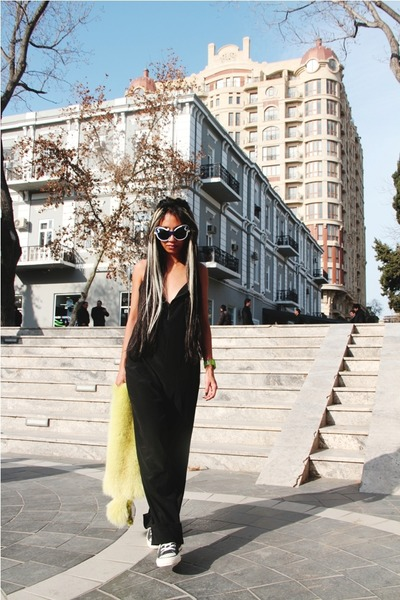 minimal baroque Prada sunglasses - silk jumpsuit Alexander Wang pants