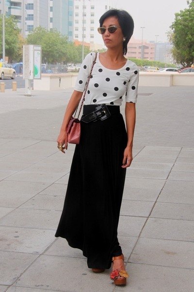brown flower wedge shoes - polka dots  top H&M - black maxi skirt