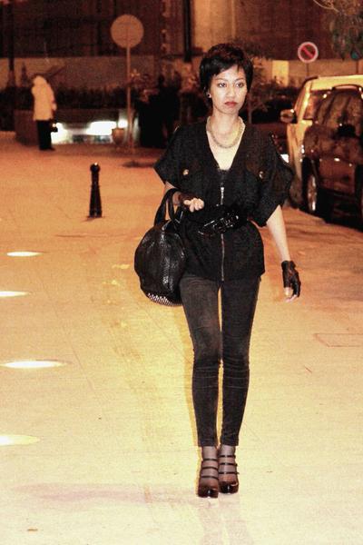 black emporio armani belt - black skinny corduroy Mango jeans