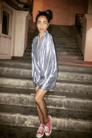 hot pink Converse shoes - sky blue silk Stella McCartney blazer