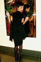 black Mango dress - black Mums - black sequined shawl Mango - black shoes Mango