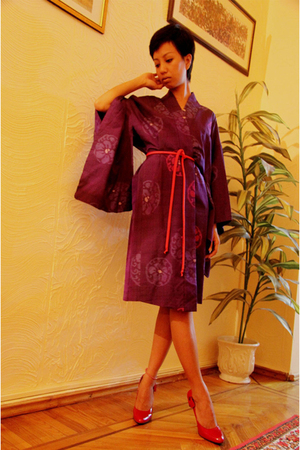 purple kimono vintage ebay dress - red shoes Turkish Brand