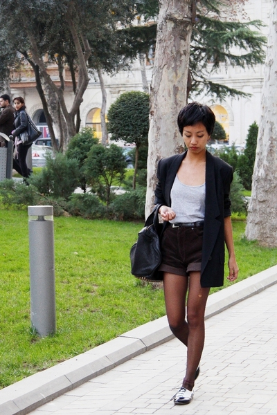 black Stella McCartney jacket - brown dark destroyed Accessorize tights
