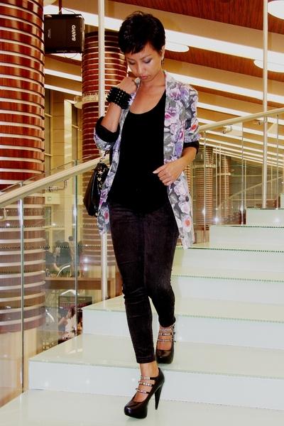 floral Topshop jacket - black Mango - black skinny jeans Mango