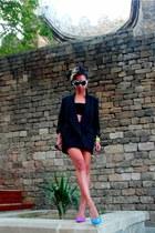 black boyfriend Stella McCartney blazer - hot pink Aldo shoes