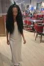 Silver-zara-dress-black-fur-zara-sandals