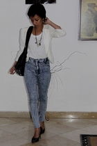 white military blazer Topshop - white cotton shirt Mango - blue vintage ebay