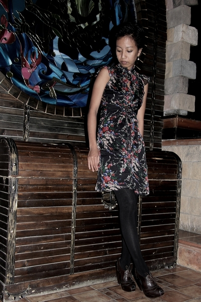 floral dress Lipsy London Asoscom - brown dark shoes Fendi