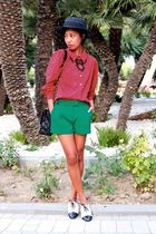 black boater Zara hat - green Missoni shorts - black pearl f21 necklace