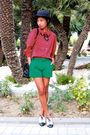 Black-zara-hat-vintage-black-f21-necklace-green-missoni-shorts-h-m-bla