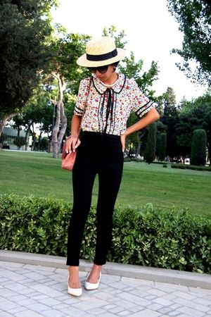shoes - beige boater hat - black cigarette pants custom made