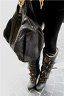 Black-aviator-burberry-boots-heather-gray-cape-vintage-coat-black-custom-mad