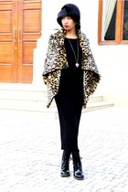 black Doc Martnes boots - black knit maxi H&M dress - mustard asoscom coat