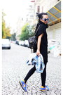 Black-knit-dress-sky-blue-acid-wash-vintage-jacket-black-chanel-bag