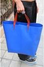 Blue-creepers-prada-shoes-blue-shopper-zara-bag-orange-linda-farrow-for-hous