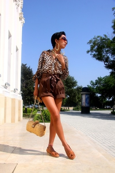 Mango sunglasses - gold H&M - brown Zara - brown donna karan