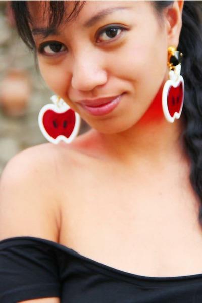 red swarovski Miu Miu earrings