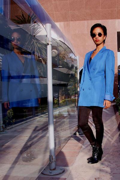 blue double-breasted Stella McCartney jacket - black gift - black jeans Mango
