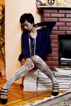 long gift cardigan - blue Mango sweater - Accessorize leggings