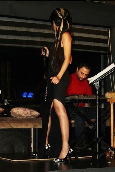 black slit Helmut Lang dress - white stars Dolce & Gabbana heels