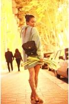 lime green dress Zara sweater - nude gladiator Zara sandals