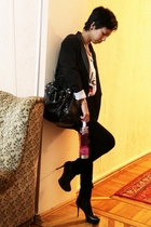 black Mango jacket - white DIY - black Mango - black Guess - black Mango - pink
