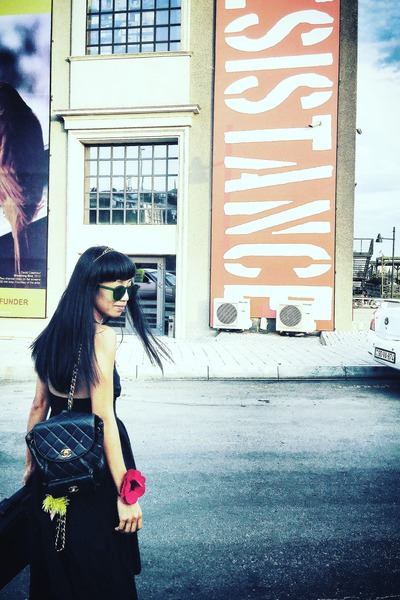 black backless custom made dress - black backpack Chanel bag