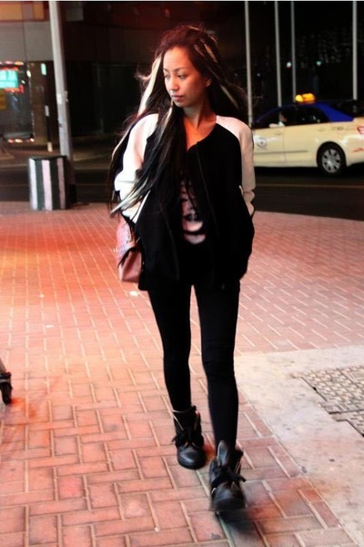 black Yohji Yamamoto sneakers - black Zara jacket - pink 255 Chanel bag