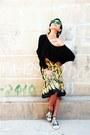 Green-linda-farrow-sunglasses-mustard-banana-prada-skirt-black-asos-top