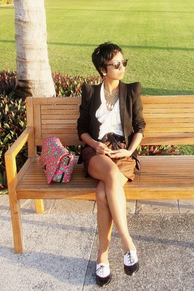 beige Temperley London blouse - black Zara blazer - pinkgreen Marc Jacobs bag