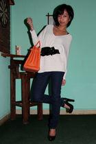 black emporio armani belt - blue skinny Topshop jeans - silver ring pink