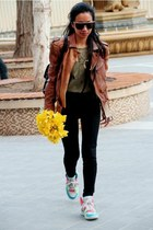 brown leather Zara jacket - black backpack Chanel bag - gold escada sunglasses
