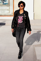 gray rolling stones H&M t-shirt - black H&M boots