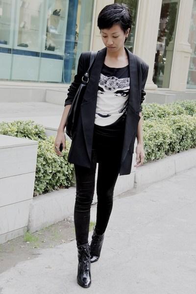 black Stella McCartney jacket - black shirt Mango - black skinny jeans Mango