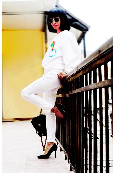 white asos rainbow sweater