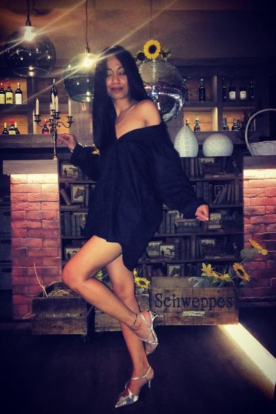 black dress custom made shirt - silver Zara heels