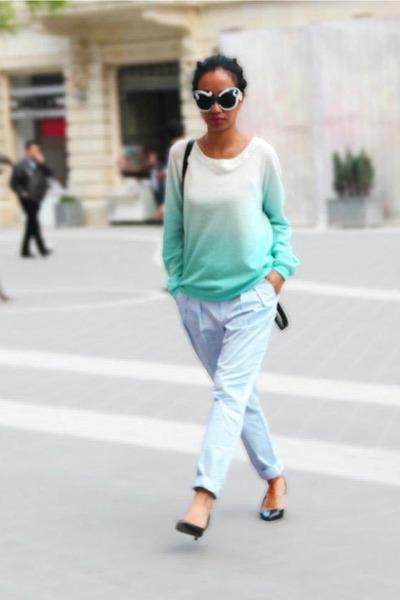aquamarine Zara sweater - black backpack Louis Vuitton bag