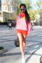 black backpack Chanel bag - white Converse shoes - carrot orange asos shorts